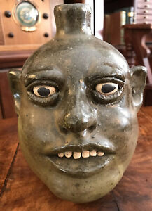 LANIER MEADERS 1970's FACE JUG WHITE COUNTY GA POTTER FOLK POTTERY 8.5""