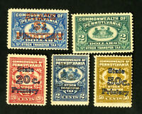 US Stamps VF Pennsylvania Stock Transfer Set OG LH