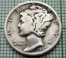 UNITED STATES 1937 S MERCURY DIME - 10 CENTS, SAN FRANCISCO MINT, SILVER