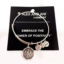 Alex and Ani Initial R Charm Rafaelian Silver Finish Bangle Bracelet A13EB14RS