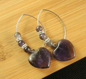 Amethyst Gemstone Heart Dangle Earrings with Oval Hooks and Beads #2516