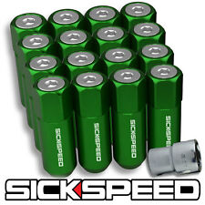 SICKSPEED 16 PC GREEN/POLISHED CAPPED EXTENDED 60MM LOCKING LUG NUTS 1/2X20 L30