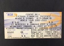 01/08/2003 Rolling stones Concert Ticket Bell Centre Montreal Canada Vtg Rock