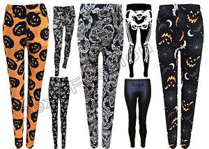 New Halloween Women Leggings Pants Pumpkin Skeleton Bat Print size S/M L/XL XXL