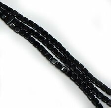 Jet Black Czechmate 6mm Square Glass Czech Two Hole Tile Bead 25 Beads