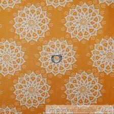BonEful FABRIC Cotton Quilt VTG Orange Gold White Flower Dot Snow*flake 99 SCRAP