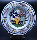 Superb Antique 18thC Dutch Delft Polychrome Plates Chinese Garden Style C1750