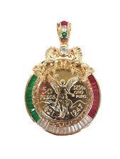 """14K Gold Plated 50 Pesos Centenario Coin CZ Holder Pendant Horse 26"""""""