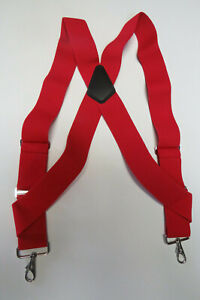 """1 1/2"""" SIDEGRIP SUSPENDERS, SNAPS, JUMBO CLIPS, 2 PIN or Button On MADE IN USA"""