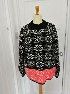 Ladies Marks And Spencer Black Mix Thick Jumper Size 18 NWT