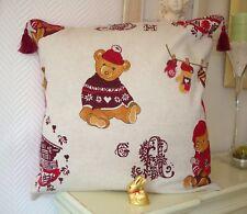 """Taie d'oreiller """"Ours à la montagne"""" en coton 40x40cm pillowcase"""