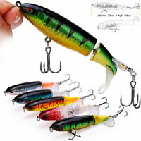 Whopper Plopper Topwater Floating Fishing Lures Rotating Tail for Bass Tuna Eel