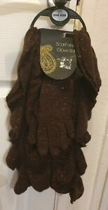 Brand New Sparkly Brown Scarf & Glove Set From George