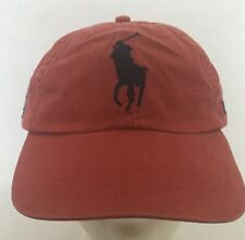 Polo Ralph Lauren Chino Baseball Cap Vintage Red Large Polo Logo Adj Strap NWT