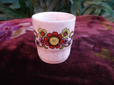 VTG RETRO ORANGE YELLOW & MAUVE FLOWER POWER CERAMIC EGG CUP - CAMPER VAN