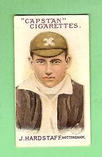 AUSTRALIAN & ENGLISH CRICKETERS CIGARETTE CARD 1908 #69 J. HARDSTAFF, NOTTINGHAM