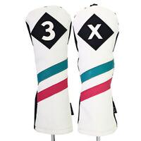 Majek Golf #3 & X Fairway Wood Headcover White w/ Teal Pink Stripe Leather Style