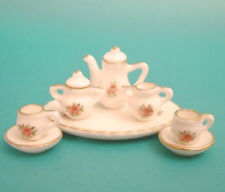 Dolls House Miniature Pink Rose Tea Set  with gold edging  : in 12th scale