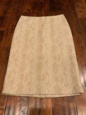 Max Mara Tan Wool Pencil Skirt w/ Floral Lace Overlay, Size 10, NWT! $695