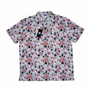 HRESKI Golf Shirt Polo Short Sleeve Poker Black Jack 114 Men's Size XL Gray