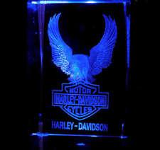 "3"" Laser Crystal Eagle Harley Davidson Motorcycle Logo + Free Light Base"