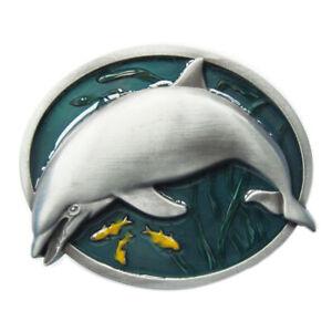Dolphin Fish Wildlife Enamel Metal Belt Buckle