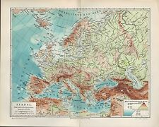 Map Map 1905: Central Europe River and Mountain systems. Geology Geography