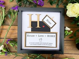 New Home / Moving in Gift! Personalised Wall Frame Keepsake Present - Home