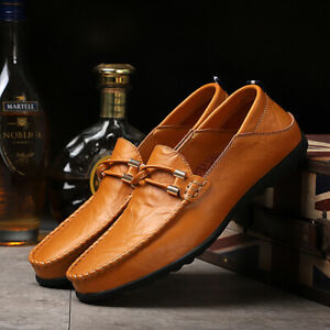 Mens Loafers Moccasin Pu Leather Slip On Driving Boat Walking Casual Dress Shoes