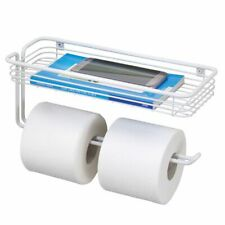 mDesign Metal Wall Mount Toilet Tissue Paper Holder and Storage Shelf - White