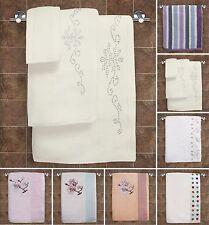 100% Cotton Hand Bath Towel Bathroom Super Soft Diamante White Cream Pink Stripe