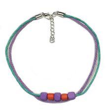 Gypsy Anklet Turquoise & Purple Cotton Cord Orange & Purple Beads Surf XL 28cm
