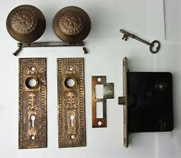 Antique Hardware Set EASTLAKE VICTORIAN Backplates Door Knobs Mortise Lock Key