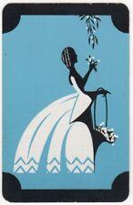 Playing Cards 1 Swap Card - Old Vintage CRINOLINE LADY + FLOWER BASKET Flowers 2