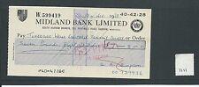 wbc. - CHEQUE - CH1111- USED -1967/68 - MIDLAND BANK, SOUTH HARROW, MIDDX.