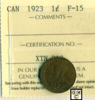 ICCS Canada 1923 1cent Coin ; F-15 ; Certification No- XTN 312 ; LHM