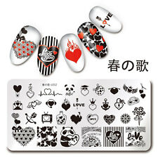 1Pc Rectangle Stamping Plate Valentine's Day Pattern Nail Art Plate Harunouta