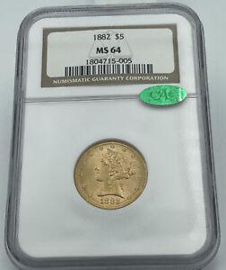 1882 NGC & CAC MS64 $5 Gold Liberty Half Eagle