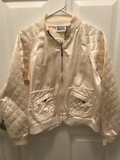 BILL BASS JEANSWEAR JACKET Quilted White Cream Zip Up Jacket Silky Shiny L