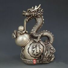 Exquisite DECORATED HANDWORK Tibetan Silver Dragon & Gourd STATUE RT021