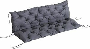 Outsunny Outdoor Garden Comfort Tufted 3 Seater Swing Chair Cushion Grey