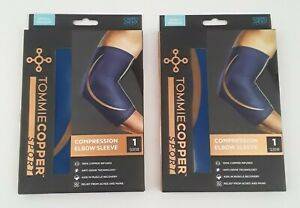 2 Pack -Tommie Copper Sport Compression Elbow Sleeve Joint Pain Relief S/M/ Blue