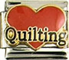 1 Heart Love Quilting 9MM Stainless Steel Italian Charm Brand New!