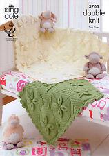 King Cole 3703 Baby's Leaf Motif Blankets Knitting Pattern