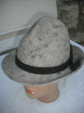 Vtg Mens Grey Trachten Oktoberfest Wool Trilby Hunting Hat! 54/55cm Sm Superb!!