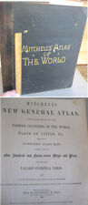 "ATLAS Of The WORLD,1888,S.A.MITCHELL,Maps,Plans,15 1/4""x12 1/4"" Page Size,Color"