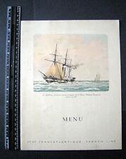 FRANCE VINTAGE S.S. DE GRASSE 1938 DINNER MENU