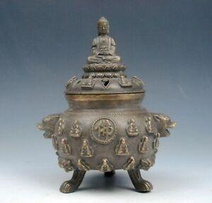 Vintage Brass Tripod Incense Burner 18 Arhat Shakyamuni Buddha Lion Head Handles