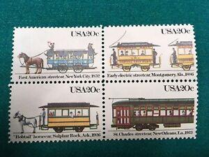 US Scott #2059, #2060, #2061, #2062, 1983 20c Streetcars, Block of 4