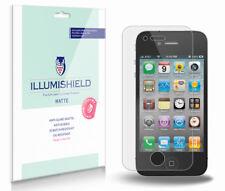 iLLumiShield Matte Screen Protector w Anti-Glare/Print 3x for Apple iPhone 4